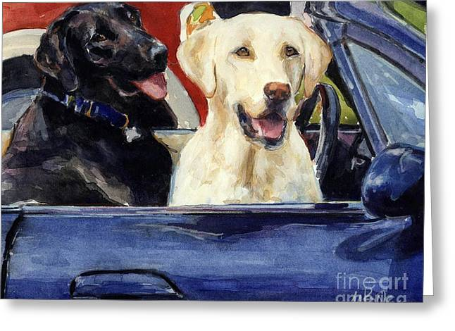 Yellow Dog Paintings Greeting Cards - Hot Wheels Greeting Card by Molly Poole