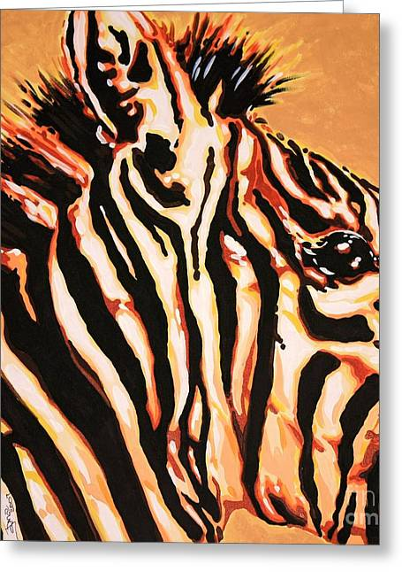 Love The Animal Greeting Cards - Hot Zebra Greeting Card by Jana Furzer