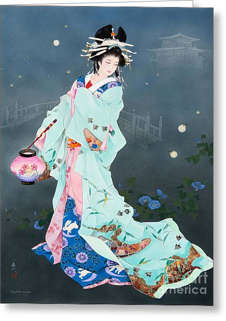 Art Print Digital Art Greeting Cards - Hotarubi Greeting Card by Haruyo Morita