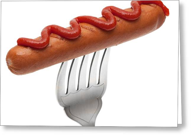Hotdogs Greeting Cards - Hotdog Sausage On Fork Greeting Card by Amanda And Christopher Elwell