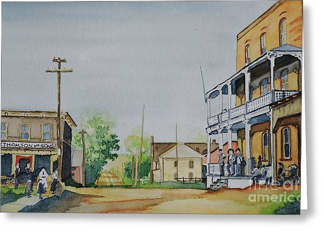 Genealogy Paintings Greeting Cards - Hotel a Charles Ouellette Thurso  Quebec Circa 1897 Greeting Card by Lise PICHE