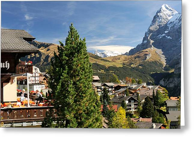Murren Greeting Cards - Hotel Alpenruh With Mt Eiger Greeting Card by Panoramic Images
