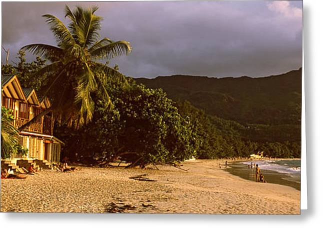 Panoramic Ocean Greeting Cards - Hotel Apartments On Beau Vallon Beach Greeting Card by Panoramic Images
