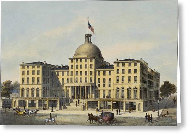 People Walking Greeting Cards - Hotel Burnet Circa 1850 Greeting Card by Aged Pixel