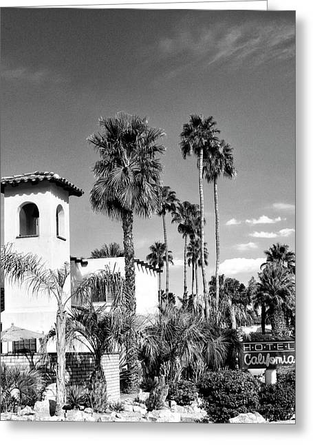 Featured Art Greeting Cards - HOTEL CALIFORNIA BW Palm Springs Greeting Card by William Dey