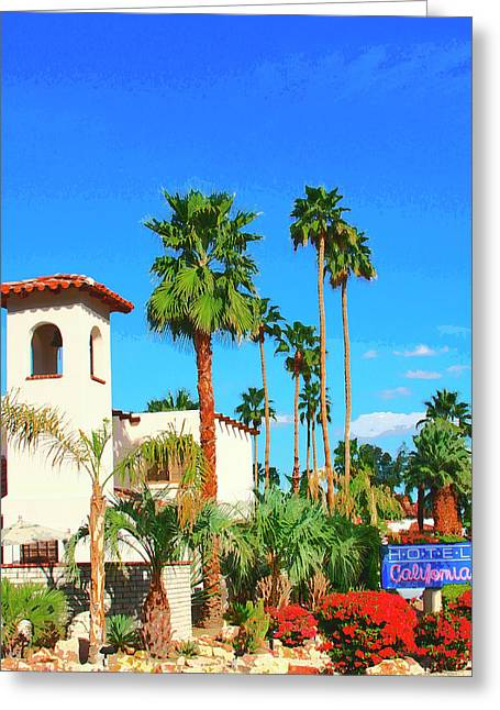Hotel California Palm Springs Greeting Card by William Dey