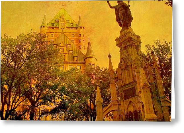 Chateau Greeting Cards - Hotel Chateau Frontenac and  Statue Greeting Card by Rick Todaro