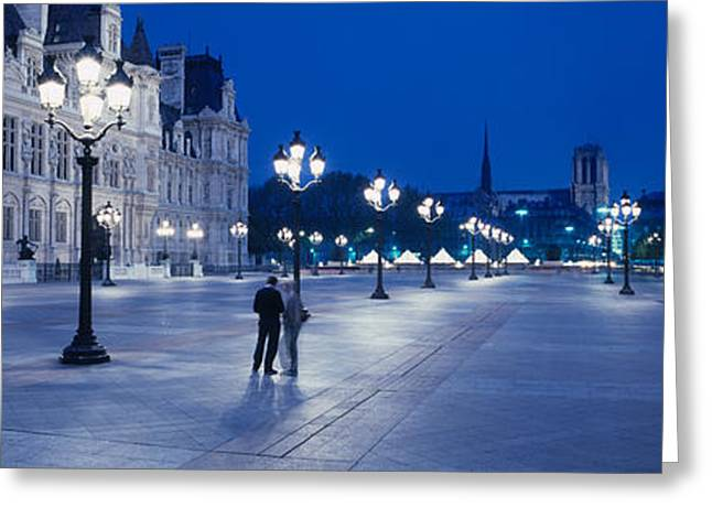 Night Lamp Greeting Cards - Hotel De Ville & Notre Dame Cathedral Greeting Card by Panoramic Images