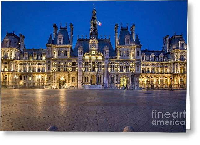 Administrative Greeting Cards - Hotel de Ville - Twilight Greeting Card by Brian Jannsen
