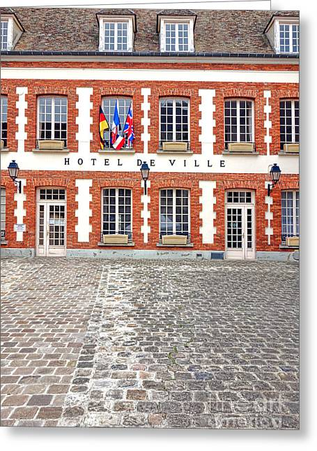 Charming Town Greeting Cards - Hotel de Ville Greeting Card by Olivier Le Queinec
