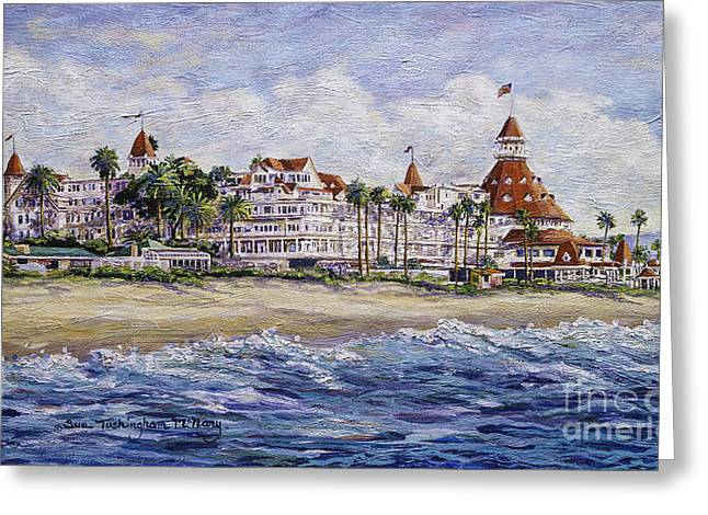 Recently Sold -  - Floral Digital Art Greeting Cards - Hotel Del Beach Greeting Card by Sue Tushingham McNary