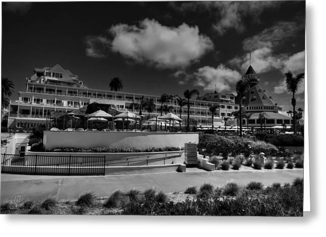 Coronado Island Greeting Cards - Hotel del Coronado 002 BW Greeting Card by Lance Vaughn