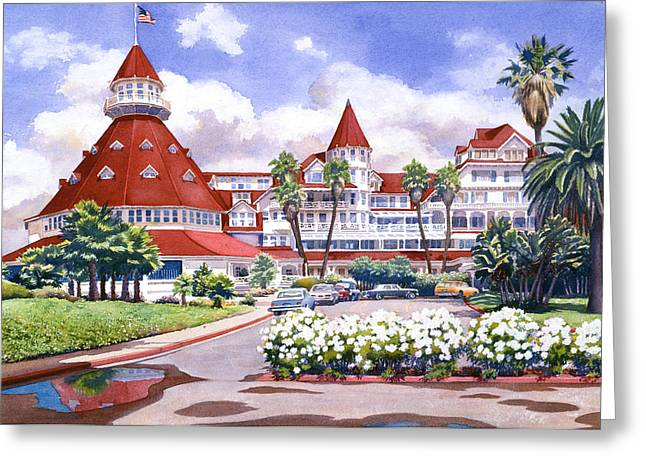 West Coast Greeting Cards - Hotel Del Coronado after Rain Greeting Card by Mary Helmreich