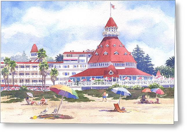Umbrella Greeting Cards - Hotel Del Coronado Beach Greeting Card by Mary Helmreich