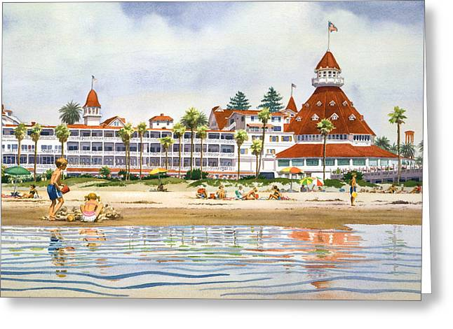 Southern California Beach Greeting Cards - Hotel Del Coronado from Ocean Greeting Card by Mary Helmreich
