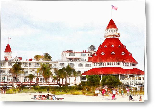 Coronado Island Greeting Cards - Hotel Del Coronado In Coronado California 5D24256wcstyle Greeting Card by Wingsdomain Art and Photography