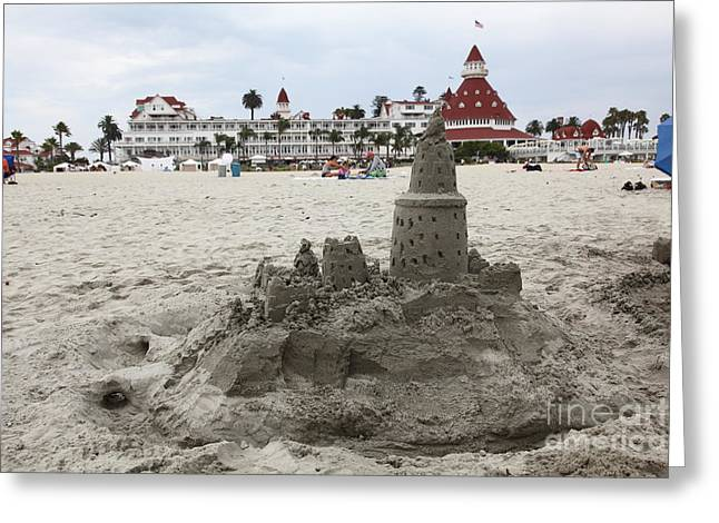 Sand Castles Greeting Cards - Hotel Del Coronado In Coronado California 5D24264 Greeting Card by Wingsdomain Art and Photography