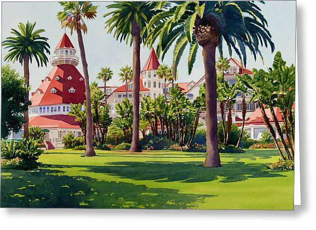 Suburb Greeting Cards - Hotel Del Coronado Greeting Card by Mary Helmreich