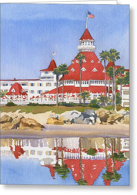 Pacific Ocean Greeting Cards - Hotel Del Coronado Reflected Greeting Card by Mary Helmreich