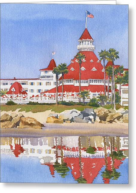 Southern California Greeting Cards - Hotel Del Coronado Reflected Greeting Card by Mary Helmreich