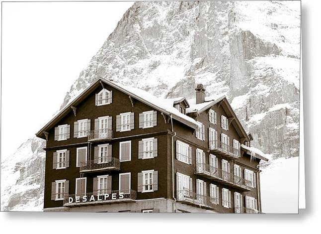Hotel Des Alpes And Eiger North Face Greeting Card by Frank Tschakert