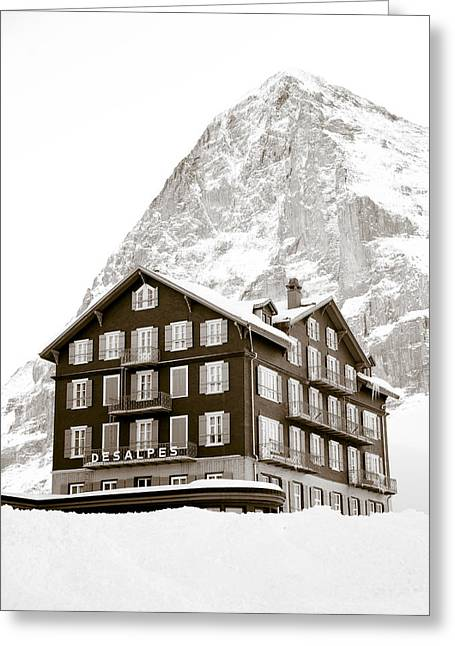 White Face Mountain Greeting Cards - Hotel Des Alpes And Eiger North Face Greeting Card by Frank Tschakert