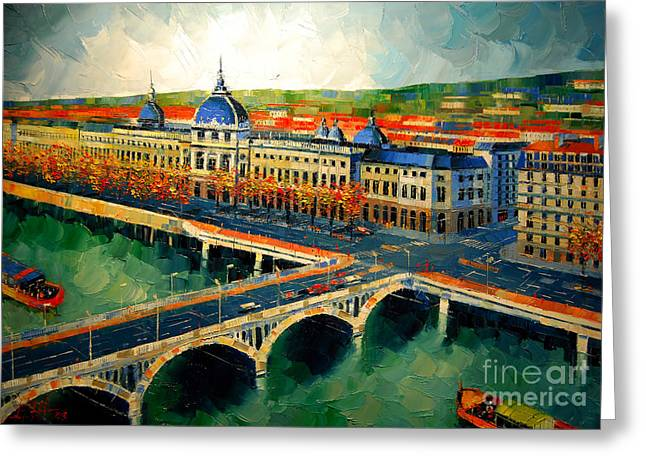 Emona Greeting Cards - Hotel Dieu de Lyon II Greeting Card by Mona Edulesco
