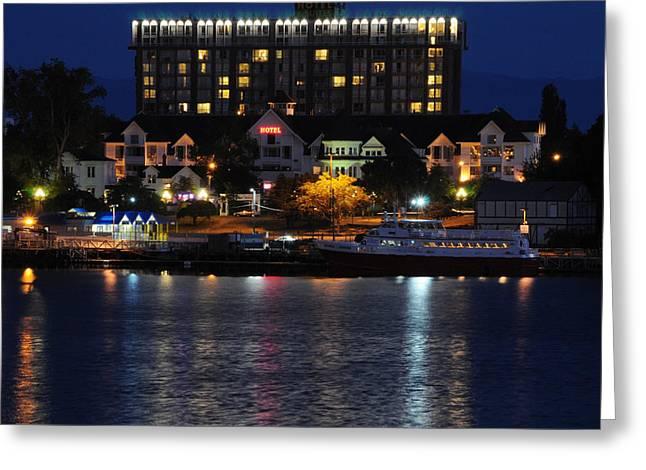 Sea Art Greeting Cards - Hotel Harbor Lights Greeting Card by SEA Art