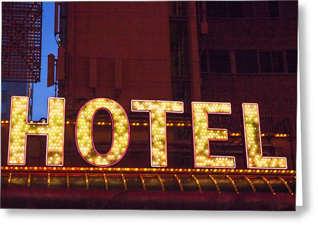 Las Vegas Art Greeting Cards - Hotel in the City Greeting Card by Art Block Collections