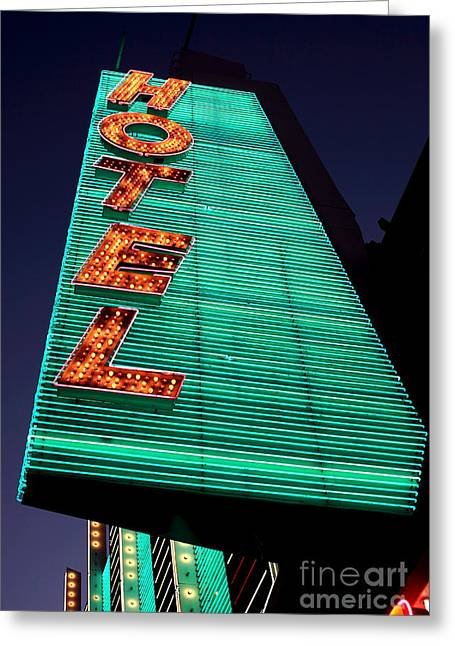 Freemont Street Greeting Cards - Hotel Lights Greeting Card by John Rizzuto