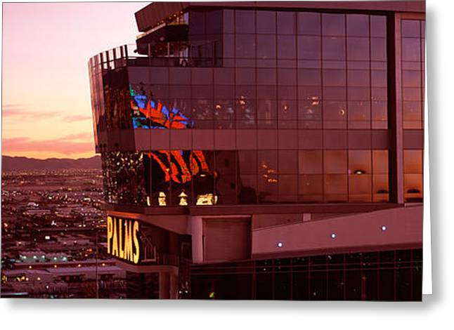 Western Script Greeting Cards - Hotel Lit Up At Dusk, Palms Casino Greeting Card by Panoramic Images