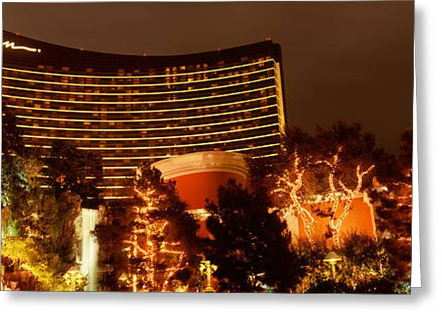 Hotel Lit Up At Night, Wynn Las Vegas Greeting Card by Panoramic Images