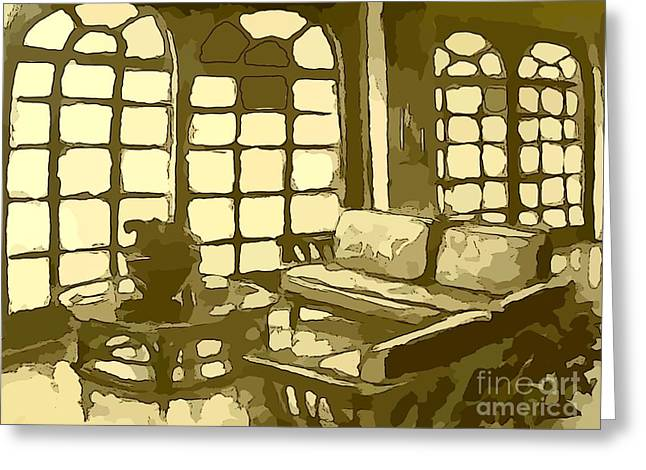 Glass Table Reflection Mixed Media Greeting Cards - Hotel Lobby in Yellow Greeting Card by John Malone