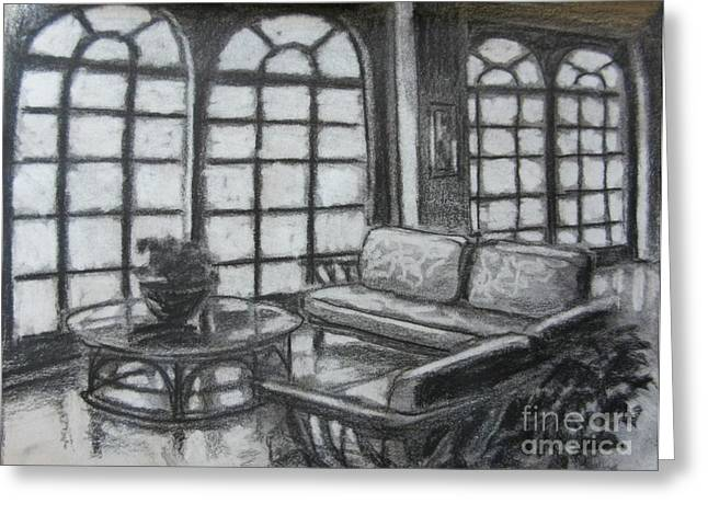 Table And Chairs Drawings Greeting Cards - Hotel Lobby Interior Greeting Card by John Malone