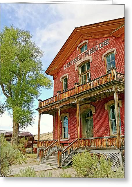 Historical Buildings Greeting Cards - Hotel Meade Bannack Montana Ghost Town Greeting Card by Jennie Marie Schell