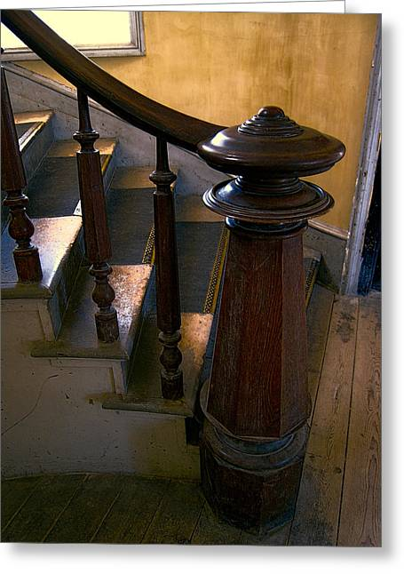 Finial Greeting Cards - Hotel Meade Grand Staircase Finial Post Greeting Card by Daniel Hagerman