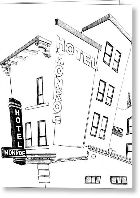 Kansas City Drawings Greeting Cards - Hotel Monroe - full view Greeting Card by Michele Fritz