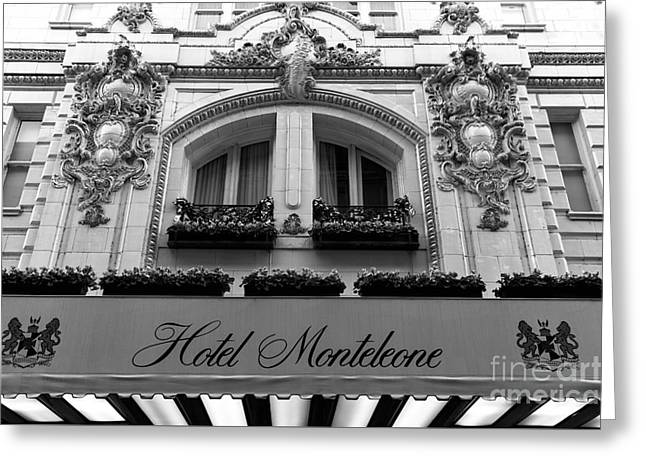 Famous Hotel Greeting Cards - Hotel Monteleone Awning mono Greeting Card by John Rizzuto