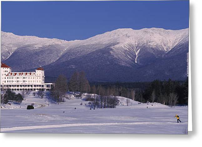 New England Snow Scene Greeting Cards - Hotel Near Snow Covered Mountains, Mt Greeting Card by Panoramic Images