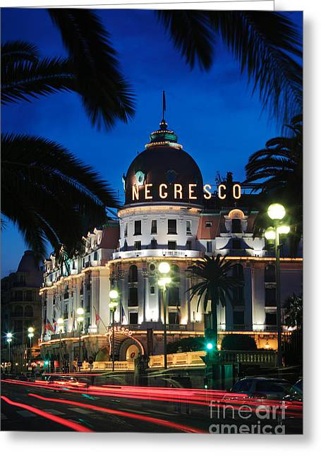 Night Lamp Greeting Cards - Hotel Negresco Greeting Card by Inge Johnsson