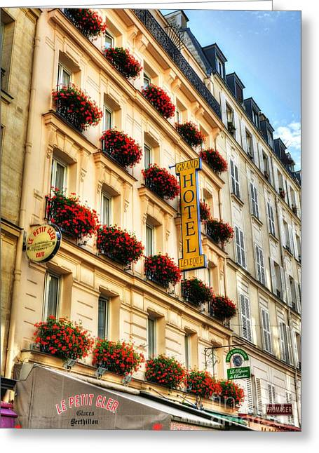 Hotel Window Greeting Cards - Hotel On Rue Cler Greeting Card by Mel Steinhauer