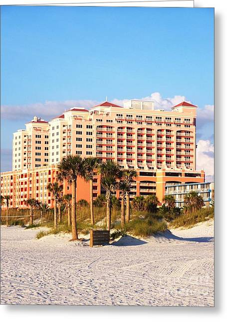 Esem8chart.com Greeting Cards - Hotel on the Beach Greeting Card by Sarah Holenstein