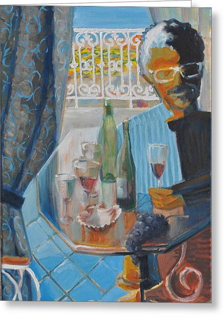 Glass Table Reflection Paintings Greeting Cards - Hotel Residence Greeting Card by Roger Clark