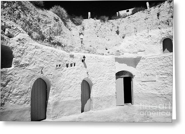 Dug Out Greeting Cards - hotel room cave accomodation Sidi Driss Hotel underground at Matmata Tunisia scene of Star Wars films Greeting Card by Joe Fox