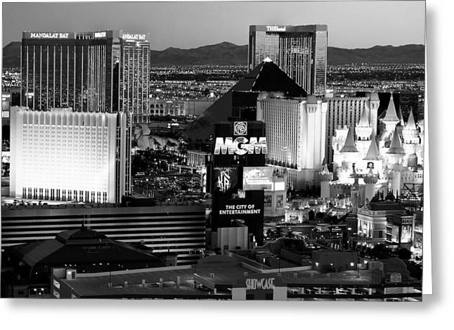Tropicana Las Vegas Greeting Cards - Hotel Room Heaven BW Greeting Card by James Marvin Phelps