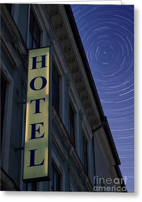 Seedy Greeting Cards - Hotel Sign At Night Greeting Card by Antony McAulay