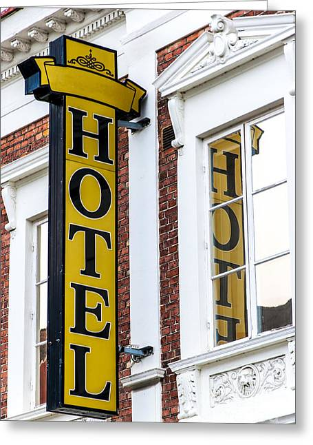 Seedy Greeting Cards - Hotel Sign Lund Greeting Card by Antony McAulay