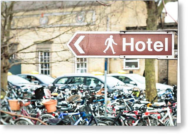 Signpost Greeting Cards - Hotel sign Greeting Card by Tom Gowanlock