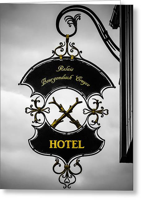 Bruges Greeting Cards - Hotel Sign in Bruges Greeting Card by Wim Lanclus