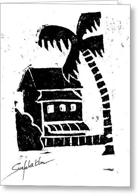 Linoleum Greeting Cards - Hotel Greeting Card by Swafeha Khan